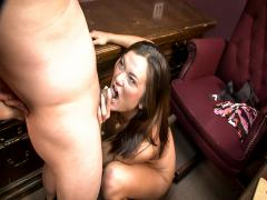 bossy brunette bites and boots Asian balls before he blows