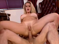Hot blonde with beautiful big boobs goes anal with Peter!