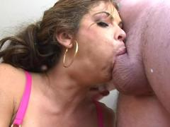Slut With Huge Boobs Sucking A Hard Cock & Getting Facial