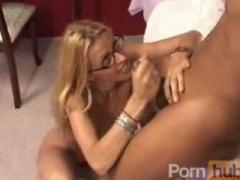 Cock massage milf glasses handjob cum cumshot facial massage interracial