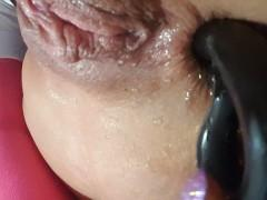 Close up Toy DP with Anal Beads & Pussy Squirt