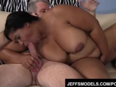 Ebony plumper Delilah Black fucks an older guy