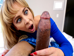 Horny milf Cherie Deville chase her stepson's long cock